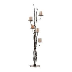 Stone County Ironworks - Rush Candelabra (Gunmetal) - Finish: Gunmetal. Candles not included. Features 5 in. candle base plate. Organic textures and forged waves with random lengths held together with loose hot wraps. Copper or gold accent highlights the wraps. Applicable for contemporary, rustic or casual settings. Made from iron. 19 in. W x 19 in. D x 66 in. H (41 lbs.)As always, anything from the Rush collection is captivating and this floor Candelabra is no exception. Stone County Ironworks creates heirloom, hand-forged iron furniture. Blacksmiths use artistic ability and traditional tools like the hammer, anvil, and forge to create unique works of art, naturally.
