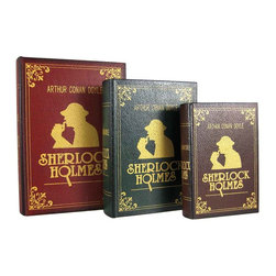 Zeckos - Set of 3 Sherlock Holmes Secret Nesting Book Boxes - This set of 3 cool nesting storage boxes is designed to look like leather bound Sherlock Holmes books. Each box has a leather shell, with metallic gold wooden 'page' sides. The largest box measures 10 inches by 7 inches by 2 3/4 inches, the middle one is 8 1/4 by 5 3/4 by 2 1/4 inches, and the smallest is 7 by 4 1/2 by 1 1/2. They're great for storing important papers, treasures or anything you want to hide in plain site. They make a great gift for mystery fans.