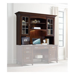 """Hooker Furniture - Latitude Computer Credenza/Desk Hutch - White glove, in-home delivery included!  Furniture assembly included!  The luxurious Latitude collection is crafted using hardwood solids and walnut veneers.  Two wood-framed glass doors with metal grid and one adjustable shelf behind.  Open area with one adjustable wood-famed glass shelf, three lights, one task light.  Can be used with Latitude Computer Credenza and Latitude 66"""" Desk.  Hutch only. Credenza and Desk sold separately."""