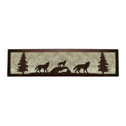 "Wildlife Decor LLC - Valance Style Bath Vanity Light, Wrinkle Black-White Mica, 18"", Wolf - Valance style bath vanity light available in 4 lengths and your choice of designs."