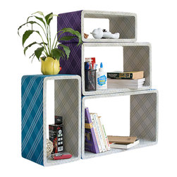 Blancho Bedding - Purple & Blue Plaid Rectangle Leather Wall Shelf / Floating Shelf  Set of 4 - These rounded corner wall cube shelves add a new and refreshing element to your room and can be easily combined with other pieces to create a customized wall space. Coming in various colors and sizes, they spice up your home's decor, add versatility, and create a whole new range of storage spaces. You can hang them on the wall, or have them stand on table or floor, any way you like. Fashion forward design has never been so functional. This range of faux leather storage cubes is sure to delight! Perfect for wall mounting, these modern display floating shelves are sure to delight. Constructed from MDF with a top faux leather wrapping. Easy to mount, easy to love! Attractive shelf boxes give any wall in your home a striking appearance. Arrange in whatever fashion you like - whether it be grouped together or displayed separately. Each box serves as a practical shelf, as well as a great wall decoration.