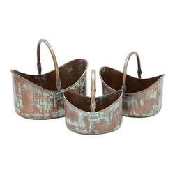"Benzara - Metal Planter Set of 3 15"",13"",11""W Patio Accents - Metal Planter Set of 3 15"",13"",11""W Patio Accents"