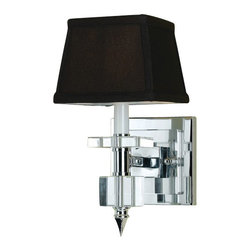 AF Lighting - AF Lighting Candice Olson Cluny Sconce-Chocolate Shades - Crystal and Chrome with Chocolate Poly Silk Shades.Hard Wire Only.  Overall dimensions are 14 in. H x 6 in. D x 9 in. Ext.