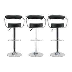 Modway - Modway EEI-931 Diner Bar Stools Set of 3 in Black - The 1950's Diner Bar Stool is a great choice for folks who want supreme comfort in a Bar Stool. Thick cushion greet the user like an old friend, and upholstered back rest invites you to lean back and relax. The base and pole's shiny chrome finish, give it a delightful retro feel; have the best of yesterday today.