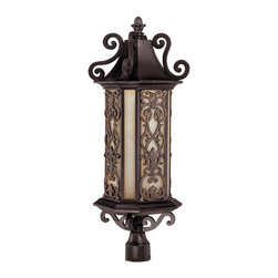 Savoy House - Forsyth Post Lantern - Create an easy, elegant Mediterranean mood, courtesy of this captivating lamp. Complete with Tuscan glass and graceful scrollwork, it's like a seaside holiday in your own backyard.