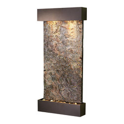 Adagio Water Features - Whispering Creek Wall Fountain, Antique Bronze, Solid Green Slate - The perfect indoor fountain for home or office.