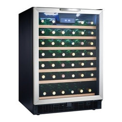 "Danby - 50 Bottle, Built-in or Freestanding Wine Cooler - 50 bottle (5.3 cu. ft.) capacity  Built-in or freestanding application  Temperature range of 40C- 180C (39.20F - 64.40F)  Precise digital thermostat with LED display allows the temperature to be accurately set and monitored through the door  Interior LED light illuminates without the heat of an incandescent bulb  6.5 sliding black wire shelves with beechwood face  Tempered glass door with stainless steel frame & handle  Reversible hinge for left or right hand opening, Unit dimensions 23 13/16"" W x 23 11/16"" D x 34 7/16"" H"