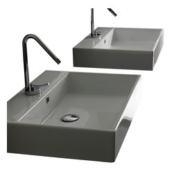 "WS Bath Collections - Unlimited 46 Ceramic Sink 18.3"" - Unlimited 46 by WS Bath Collections 18.3"" x 18.3"" x 4.3"" H, Wall Mounted Sink in Ceramic White, with Faucet Hole"