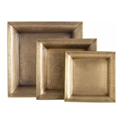 """Arteriors - Arteriors Home - Athens Square Trays, Set of 3 - 2309 - This set of three hammered iron trays finished in antique brass are easy to hold, so they are easy to serve with. Features: Athens Collection Tray Set of 3Antique Brass finish Some Assembly Required. Dimensions: Large: H 2"""" x 17 1/2"""" Sq Medium: H 2"""" x 13 1/2"""" sqSmall: H 2"""" x 11"""" Sq"""