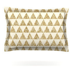 """Kess InHouse - Nika Martinez """"Glitter Triangles in Gold"""" Tan Yellow Pillow Sham (Cotton, 30"""" x - Pairing your already chic duvet cover with playful pillow shams is the perfect way to tie your bedroom together. There are endless possibilities to feed your artistic palette with these imaginative pillow shams. It will looks so elegant you won't want ruin the masterpiece you have created when you go to bed. Not only are these pillow shams nice to look at they are also made from a high quality cotton blend. They are so soft that they will elevate your sleep up to level that is beyond Cloud 9. We always print our goods with the highest quality printing process in order to maintain the integrity of the art that you are adeptly displaying. This means that you won't have to worry about your art fading or your sham loosing it's freshness."""