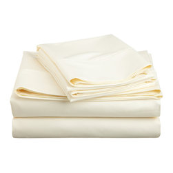 600 Thread Count Cotton Rich Olympic Queen Ivory Sheet Set, Ivory - Cotton Rich 600 Thread Count Olympic Queen Ivory Sheet Set