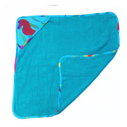Tropical Seas Hooded Towel - Baby boys and girls will adore this tropical hooded towel made with designer fabric back swimming with seahorses, kissing fish, seaweed and starfish in the finest This item is completely made of cotton poplin.