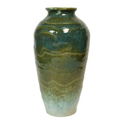 E. Boden on base - Consigned Green Flower Vase with Mottled Glaze by Boden, Vintage English, 1971 - Art studio flower vase in stoneware with green mottled and running glaze over incised decoration by E.Boden; vintage English, 1971 dated on base.