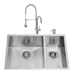 "VIGO Industries - VIGO All in One 29-inch Undermount Stainless Steel Double Bowl Kitchen Sink and - Create a whole new look in your kitchen with a VIGO All in One Kitchen Set featuring a 29"" Undermount kitchen sink, faucet, soap dispenser, two matching bottom grids and two sink strainers."