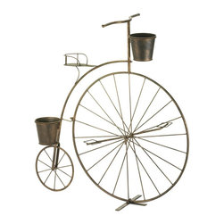 Gifts Galore - Old-fashioned bicycle plant stand - Vintage charm is in bloom!  This adorable planter's frame looks like a high-wheel bicycle from bygone days, with one large wheel in the front and a smaller wheel in back.  Attached are three pails that are ready to hold your blooming plants.  This lovely accessory will look great on your patio or in your favorite room.