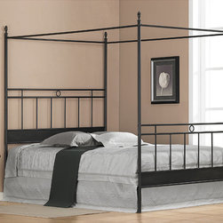 None - Cara Black Metal Queen-size Canopy Bed - Transform your bedroom into the ultimate hideaway with this black metal queen-size canopy bed. This bed features multiple metal bars running along the headboard and foot-board and has four posts that form a canopy to create a resort look right at home.