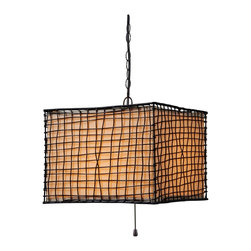 Kenroy - Kenroy KR-93399BRZ Trellis 1 Lt Outdoor Pendant - Surrounded by an artfully woven outer mesh of wire is a glowing, luminous monolith.  Trellis celebrates texture and form and is weather safe and durable.