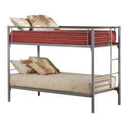 Hillsdale Furniture - Hillsdale Universal Youth Twin/Twin Bunk Bed - The silver and navy Universal Youth bedroom offers super solutions for any kids room, whether you choose the traditional bed, the bookcase headboard with under bed storage, the loft bed or bunk beds. Add any combination of case goods to create the perfect home base for your child, tween or teen.
