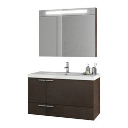 ACF - 39 Inch Wenge Bathroom Vanity Set - Complete your upscale bath with this luxurious bathroom vanity from ACF.