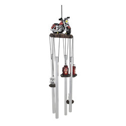 """Zeckos - """"Get Your Kicks"""" Red Motorcycle Wind Chimes - This awesome red motorcycle wind chime is the perfect gift to any motorcycle lover or fan of the open road. Made of cold cast resin and aluminum, the chimes feature a 3 1/4 inch x 4 1/2 inch by 4 inch cruiser style motorcycle on a stone base. Cast resin gasoline pumps and Route 66 road signs hang down to ring the chimes. The wind chimes measure 18 inches from the top of the motorcycle to the bottom of the longest chime. They look great, indoors or outdoors."""