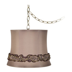 """Lamps Plus - Traditional Tan Ruffle Trim 12"""" Wide Antique Brass Plug-In Chandelier - Designer style meets practicality in this plug-in swag chandelier. The design features a plug-in swag chandelier with an antique brass finish canopy and chain. A lovely designer shade in tan with ruffle trim completes the look. 13-foot cord 9-feet of chain. Tan ruffle trim lamp shade. Antique brass finish canopy. Includes swag hooks and mounting hardware. 13-foot cord 9-feet of chain. Maximum 60 watt bulb (not included). Canopy is 5 1/2"""" wide 1"""" high. Shade is 10"""" across the top 12"""" across the bottom 9 1/2"""" high.  Tan ruffle trim lamp shade.  Antique brass finish canopy.  Includes swag hooks and mounting hardware.  13-foot cord 9-feet of chain.   Lamp shade chandelier.  Maximum 60 watt bulb (not included).  Canopy is 5 1/2"""" wide 1"""" high.   Shade is 10"""" across the top 12"""" across the bottom 9 1/2"""" high."""