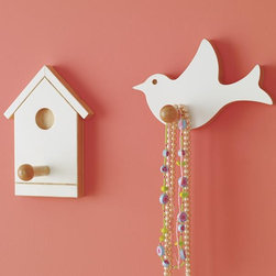 Children's Bird And Birdhouse Wall Pegs - This small white-painted wood birdhouse hook is a sweet addition to a kid's room. I could do a whole ideabook on birdhouses!