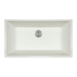 "MR Direct - Single Bowl Undermount TruGranite Sink - The TruGranite 848-White large single bowl undermount sink is made from a granite composite material that is comprised of 80% Quartzite and 20% Acrylic. Silver ions are added to the sink during the manufacturing process that kill 99% of bacteria on contact.  Aside from being anti-bacterial, the 848-White is stain and scratch resistant and can resist heat up to 550 degrees. The overall dimensions of the sink are  and a 33"" minimum cabinet size is required. The sink contains a 3 1/2"" offset drain and is available in multiple colors. As always, our TruGranite sinks are covered under a limited lifetime warranty for as long as you own the sink."