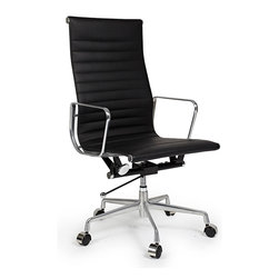 Kardiel Classic 1958 Lider Ribbed High Back Aluminum Office Chair, Black Italian - The iconic office chair series from which this Kardiel Lider High Back reproduction takes its inspiration, was originally developed in 1958. The seat and back rest is made of a continuous single section of leather upholstery stretched taut between two metal ribs. This allows it to subtly conform to the shape of the user's body and makes it comfortable for long periods of sitting. Upgraded Italian leather was selected for the upholstery of this reproduction. None of the details were overlooked, from the distance of the ribbed stitching to the period correct Atomic metal ball of the height adjusting lever. We understand and offer you the intricacies of the original office series design in this quality reproduction.