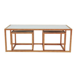 Allan Copley Designs - Grace 3 Piece Coffee Table Set - Features: -Frame: Metal.-Mirrored glass tops.-Provide a modular functionality.-0.38'' Thick mirror glass inset top.-Timeless design, stylish addition to any room decor.-Set includes 1 coffee table and 2 end tables.-Finish: Gold Leaf.-Grace collection.-Collection: Grace.-Distressed: No.Dimensions: -Overall Product Weight: 189 lbs.Warranty: -1 Year warranty.