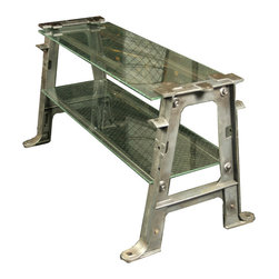 """Vintage Wire Glass Industrial Console - Designed and built by Doyle:Hudson co-owner Denis Ferentinos, this unique console combines vintage found objects with contemporary materials. The result is an industrial style console featuring vintage cast iron machine legs with a unique footed design, combined with two new 16.5"""" deep wire glass shelves."""