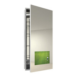 Seamless Right Surface Medicine Cabinet with TV by Electric Mirror -