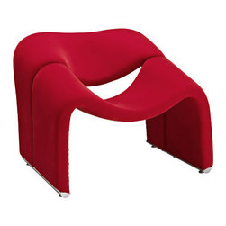 "Modway - Cusp Modern Lounge Chair in Red - Start at fresh beginnings with the Cusp modern lounge chair. Made of dense foam padding and fabric upholstery, Cusp is a transition piece unlike anything else on the market today. The craftsmanship is readily evident in this piece that more resembles a display of organically expressive art, than it does a chair. But the practical elements of Cusp are just as delightful as the artistry. Sit deeply as you spread your arms out, and relax your neck and shoulder muscles, as you bask at the horizon line ahead. Seat Dimensions: 21""L x 15.5 - 19""HChair Legs Thickness: 2.5""WThis Lounge Chair Arrives Via Small Parcel, Fully Assembled."