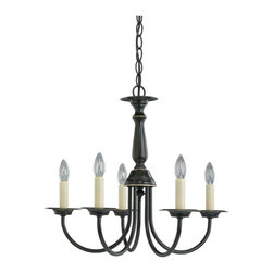 Sea Gull Lighting - Sea Gull Lighting Five Light Traditional Chandelier X-287-6193 - Rich curves make for an appealing candelabra in this traditional chandelier. The stylish candle-like shades provide a warm radiance that looks magnificent in your bathroom, apartment, bungalow, or dining room. The finish is extremely durable and made to please. You'll always be able to enjoy the friendly sparkle. Share this fixture with friends and relatives.