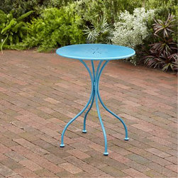 "23"" Madeline Round Table, Capri Breeze - This round table is colorful, traditional and eclectic at the same time. The bright blue is cheerful and the the patterned steel top looks positively vintage."