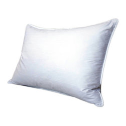 Tommy Bahama - Tommy Bahama 425 Thread Count PrimaLoft Down Alternative Pillow - Perfect for side sleepers,this medium/firm PrimaLoft pillow will cradle your head and neck every night. The removable cover makes washing a cinch,and the damask stripe adds an elegant look. The PrimaLoft filling resists water,so it dries faster.