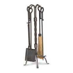 Fireside Distributors - 5 Pc Fireplace Set in Iron Finish w Rope Twist Stand - This functional, rustic style fireplace tool set has everything you need for a clean, safe hearth setting. You'll get an ash shovel, poker, broom and tongs, each with a loop end for hanging. Sturdy base has twisted rope accents and impresses with a vintage iron finish. Includes tool stand, ash shovel, poker, broom & log tongs. Distinctive hand forged accents. Made of iron. Height: 31 in.. Weight: 22 lbs.