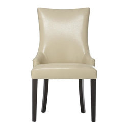 Home Decorators Collection - Rebecca Accent Chair - Our Rebecca Accent Chair's smooth lines and slender profile make it an elegant choice to enhance your living space. Available in your choice of upholstery, this charming piece features tapered legs, a gently swooping back and nailhead accents. Your choice of upholstery. Wood legs finished in black.