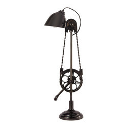 Bicycle Desk Lamp - I love this lamp! With a vintage, steampunk look, it would definitely be a conversation piece.