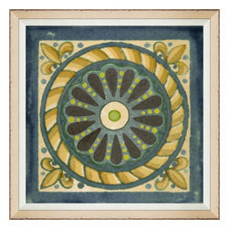 Wendover Art - Garden Tile - This elegant Giclee on Paper print adds a bit of flare to any space. A beautifully framed piece of art has a huge impact on a room for relatively low cost! Many designers and home owners select art first and plan decor around it or you can add artwork to your space as a finishing touch. This spectacular print really draws your eye and can create a focal point over a piece of furniture or above a mantel. In a large room or on a large wall, combine multiple works of art to in the same style or color range to create a cohesive and stylish space!