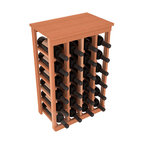 24 Bottle Kitchen Wine Rack in Redwood with Oak Stain - Petite but strong, this small wine rack is the best choice for converting tiny areas into big wine storage. The solid wood top excels as a table for wine accessories, small plants, or whatever benefits the location. Store 2 cases of wine in a space smaller than most televisions!