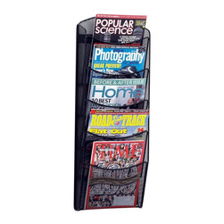 Safco - Onyx 5-Pocket Magazine Rack in Black - Made of durable mesh metal, this Onyx collection 5-pocket magazine rack boasts trendy style at the right price. It's great for tradeshows, waiting rooms and everywhere in between. A powder coat black finish completes the contemporary profile and works well in modern, casual decor. Includes mounting hardware. Greenguard certified. Compartment capacity of 5 lbs.. Five compartments. Powder coat finish. Made from steel mesh. No assembly required. Compartment size: 9.5 in. W x 7.5 in. H. 10.25 in. W x 3.5 in. D x 28.33 in. H (3.6 lbs.). Assembly InstructionNo more magazine mayhem with Onyx! Whether it's for your guests in the reception area, waiting room, conference room, meeting areas, trade show booth, the lobby, foyer or entrance way or for your internal employees at a print station, lounge area, lunch or break room, mail room, supply room, classroom, media center, library or even your office, every piece of literature and magazine will have a perfect place to be displayed.