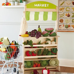 What's That Stand For Stand in Kitchen & Grocery | The Land of Nod - This is my favorite fruit stand! It can also double as a theater/puppet show stage, and it has a chalkboard/whiteboard on the back. There are so many fun ways to play with this stand.