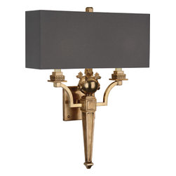 Robert Abbey - Leopold Brass Wall Sconce - Illuminate your favorite setting with this striking sconce. The beautifully detailed base, in either a silver or natural brass finish, is offset by a simple cotton rectangular shade.