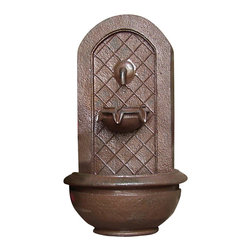 "Sunnydaze Decor - Marsala Outdoor Wall Fountain Iron - Dimensions: 18""Wide x 10.5"" Deep x 25.5""High, 10 lbs"