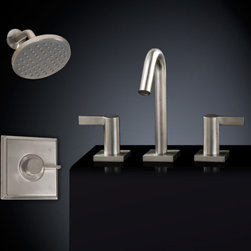 Flair Shower Set #3 - with Widespread Sink Faucet - Create a bathroom retreat with the Flair Bathroom Faucet Set and relax under the wide showerhead as you enjoy constant water pressure and temperature. This set also includes a widespread faucet to create a coordinated, modern look in your bath suite.