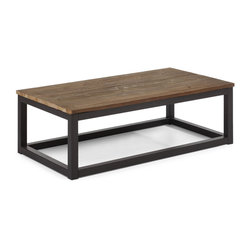 ZUO ERA - Civic Center Long Coffee Table Distressed Natural - Your search for an industrial and rustic aesthetic is over. Make the Civic Center coffee table the pivotal piece in your living room. It features long, thick elk wood planks on top and a sturdy antiqued metal base.