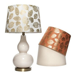 Threshold Double Gourd Mix and Match, Medium - I really love the shape of this lamp base, and the metallic gold pattern on the shade is a nice unexpected touch.
