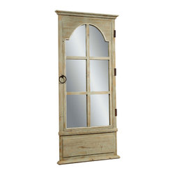 Bassett Mirror - Antique Pine Door Mirror - Antique Clear Pine with Moss Green Accent - Door Mirror. Measures: 32 in. W x 77 in. H.