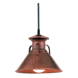 "THE YUMA MOONSHINER COPPER & BRASS CORD-HUNG CEILING LIGHT - 9"" Yuma Moonshiner shown in 77-Rosewood Finish with Black Cord"