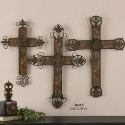 "13637 Decorative Crosses, Set/3 by Uttermost - Get 10% discount on your first order. Coupon code: ""houzz"". Order today."